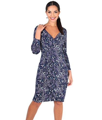 4273-NVY-18: Wickelkleid im Blumen-Design (Marineblau, Gr.46) (Design Kleid)