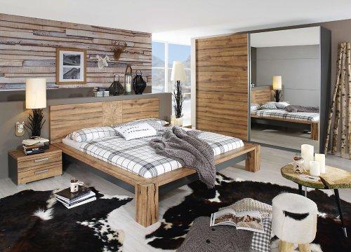 Schlafzimmer in Wildeiche-Nachb. und Abs. in graphit, Schwebetürenschrank Breite 270 cm, Bett 180 x 200 cm, 2 Nachttische Breite 55 cm