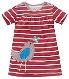 Kaily Mädchen Baumwolle Sommer Kurze Ärmel T-Shirt Kleid(Rot,5 Jahren)