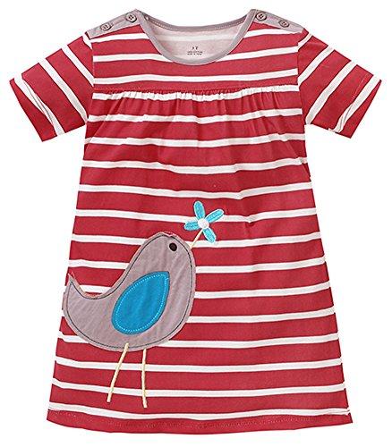 Rote Armee Mädchen (Kaily Mädchen Baumwolle Sommer kurze Ärmel T-shirt Kleid(Rot,6 Jahren))