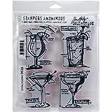 "Tim Holtz Cling Stamps 7""X8.5""-Cocktails Blueprint"