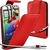 ( Red ) HTC Sensation XL G21 Premium Faux Leder Flip Case Hülle & LCD-Display Schutzfolie & Aluminium In-Ear-Ohrhörer Stereo-Ohrhörer mit Hands Free Mic & On-Off-Taste Einbau by Fone-Case