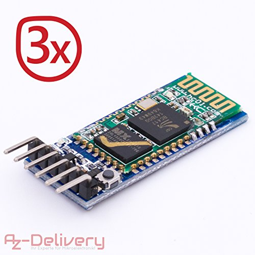 AZDelivery 3x HC-05 Bluetooth Wireless RF-Transceiver-Modul RS232 serielle TTL und HC-06 drahtlose Bluetooth Serieller Transceiver Modul Slave serielle Kommunikation für Arduino (3x HC-05)