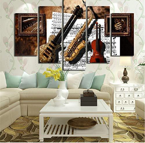 Wandbilder Dekor 5 Stücke Musikinstrumente Gitarre Saxophon Violine Musik Partitur Gemälde Modulare Leinwandbilder