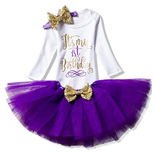 Baby Mädchen Kleid Festlich 3PCs Erster Geburtstag Onesie Tutu-Kleid Stirnband Langarm / Lila/1Jahr (Für Lila Baby-mädchen Kleider)