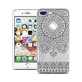 HULI Design Case Hülle für Apple iPhone 8 Plus Smartphone im Orientalischen Muster Graphit - Schutzhülle klar aus Silikon mit orientalischem Mandala Henna Ornament Traumfänger - Handyhülle