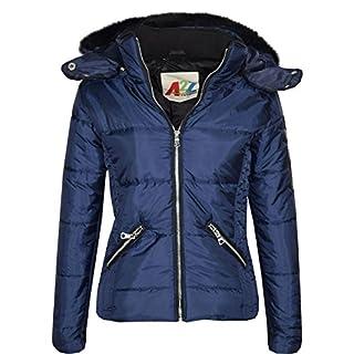 A2Z 4 Kids® Girls Jacket Kids Stylish Cropped Padded Puffer Bubble Fur Collar - 414 - Navy - 13 Years