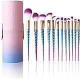 Belleza Profesional Brochas de Maquillaje-12 Cepillos Cosméticos para Difuminar la Cara, Pinceles Suaves para Polvo y Sombra-Herramientas de Maquillaje con Mango Espiral