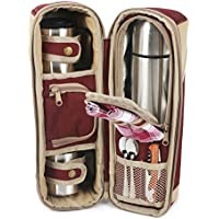 Greenfield Collection Deluxe Mulberry Red Flask Hamper Bag for Two People