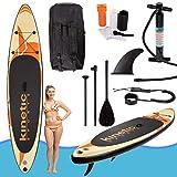 Kinetic Sports SUP Board Stand Up Paddling Surfboard 335cm aufblasbar inkl. Teleskop-Paddel, Rucksack, Sicherheitsleine und Repair-Kit Shark