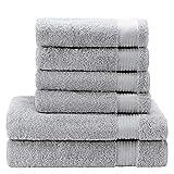 Handtuch Set (6-Teilig) mit 4 Handtüchern und 2 Badetüchern, 100% Baumwolle, Chemikalien-Frei - Hotel- und Wellnessqualität - OEKO TEX Std 100 Zertifizierung - Weich und Saugstark - Schwimmbad