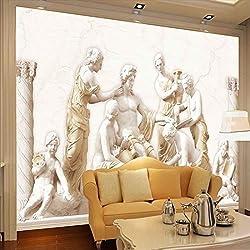 LONGYUCHEN 3D Wallpaper Wandbild Benutzerdefinierte Foto Europäischen Römischen Statuen Kunst Silk Wandbild Wohnzimmer Retro Sofa Hintergrund Wandmalerei,250Cm(H)×360Cm(W)