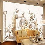 LONGYUCHEN 3D Wallpaper Wandbild Benutzerdefinierte Foto Europäischen Römischen Statuen Kunst Silk Wandbild Wohnzimmer Retro Sofa Hintergrund Wandmalerei,160Cm(H)×250Cm(W)