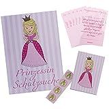 Lasse und Lucie Schatzkarte Komplett Set mit Mitgebsel Diplomen für Schnitzeljagd / Schatzsuche für Kindergeburtstag Prinzessin Party Rosa für Mädchen / Tolles Kinderparty Spiel für Draußen