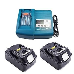 Ersatz Ladegerät mit 2X Akku 18V 3.0Ah für Makita Baustellenradio BMR100 BMR102 DMR100 DMR110 DMR101 DMR103B BMR104 BMR103 DMR104 DMR105 DMR106 DMR102 DMR109 DMR108 DMR107 18 Volt Radio LG Zellen