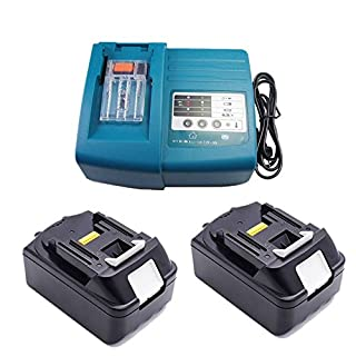 Replacement Makita 2x Battery Charger 18V 4.0Ah for Makita Job Site Radio BMR100BMR102DMR100DMR110DMR101DMR103B BMR104BMR103DMR104DMR105DMR106DMR102DMR109DMR108DMR10718Volt Radio