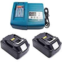 Ersatz Makita Ladegerät mit 2X Akku 18V 5.0Ah für Makita Baustellenradio BMR100 BMR102 DMR100 DMR110 DMR101 DMR103B BMR104 BMR103 DMR104 DMR105 DMR106 DMR102 DMR109 DMR108 DMR107 Radio 5000mAh