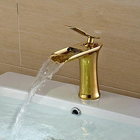 Hiendure® Einhebel Wasserhahn Armatur Gold Waschtischarmatur Wasserfall Einhandmischer für Badezimmer Waschbecken