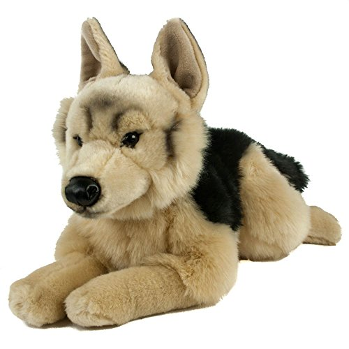 Teddys Rothenburg Kuscheltier Schäferhund 45 cm liegend braun/schwarz Plüschhund Plüschschäferhund -