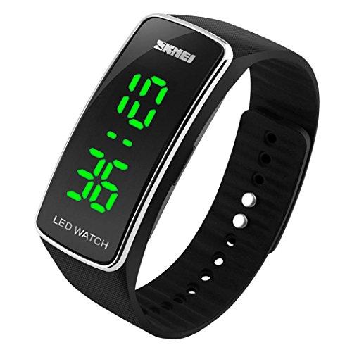 DDLBiz® Uomo Donna Moda silicone LED di sport del braccialetto di tocco Orologio da polso digitale (nero)