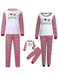 POLP Niño Familia Navidad Pijamas Rayas Hombres Mujer Chico Niña Niños Bebé Sleepwear Ropa de Dormir
