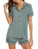 MAXMODA Damen-Pyjama sommerlicher Schlafanzug in Verschiedenen Modellen • luftige leichte Baumwolle • Trends 2018