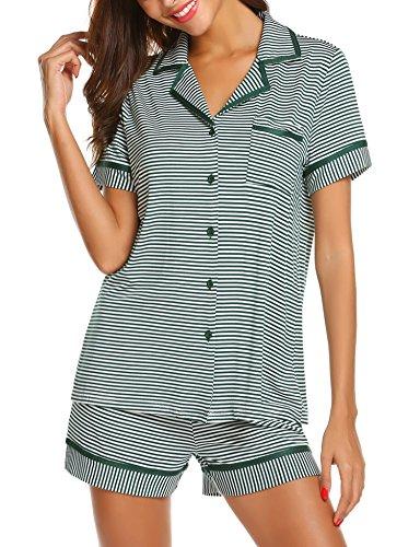 Maxmoda pigiama due pezzi pigiami estivi donna collo a u vestaglia ragazza maniche corte con pantalocini verde scuro xl