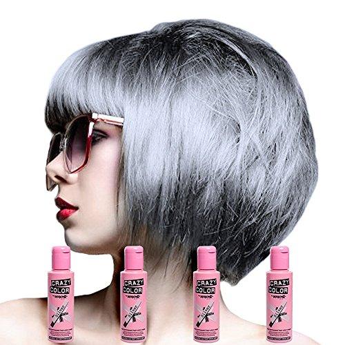 Crazy Color Auswaschbare Haarfarbe 4er Pack (Silber)