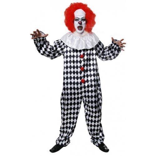 Erwachsene Herren Verrückte Toten Gruselig Halloween Clown mit Perücke Kostüm Kleid (Clown Outfit Halloween)