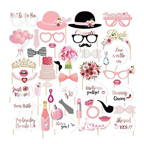 JoyTplay Hochzeitsparty Bridal Shower Dekorationen,44Stück Hochzeit Fotorequisiten Fotoaccessoires Photo Booth,Hochzeit Hen Party Rose Gold Team Braut Photo Booth Props