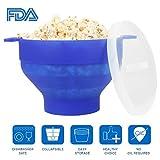Uvistar Recipiente / Bol para cocinar palomitas en MicroondasTazón de la palomitas de maíz Material de silicona y BPA libre ,Azul