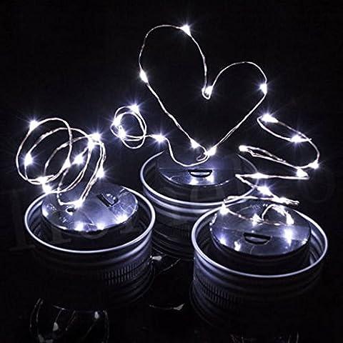 3 Stück Solar Mason Jar Deckel, LED Lichterkette, solarbetrieben LED Garten-Tisch im Hängelaterne Leuchten, für Terrasse Party Weihnachten Urlaub Hochzeit Dekorationen Warm Weiß (Gläser nicht enthalten) (3P, (Warm Weiß Led Weihnachten Tree)
