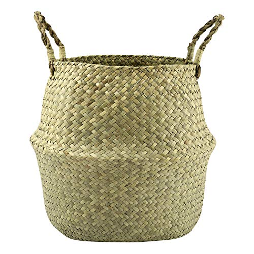Lewondr Natural Seagrass Belly Basket 31cm Collapsible Handmade Plant Pot Planter Weave Tote Basket With Handle For Storage Laundry Home Picnic