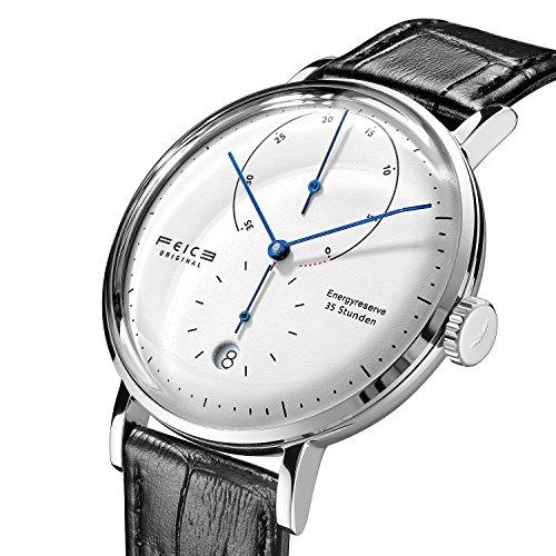 FEICE Herren Uhr Analog Automatik Uhrwerk mit Schwarz Lederband Gewölbtes Mineralglas Kalender Minimalistische Bauhaus Armbanduhren - FM202