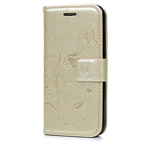 Mavis's Diary iPhone 7(4,7 Zoll) Case Tasche Blumen Schmetterling Solide Rose PU Ledercase Cover Hüllen Schutzhülle Scratch Bumper Fall Euit Bookstyle Magnetverschluss Telefon-Kasten Handyhülle Standf Gold