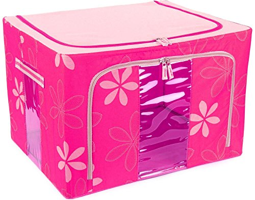 Kuber Industries™ Saree Cover /Lehenga/Woolens Storage Box with Steel Frames - Pink Flower  available at amazon for Rs.1099