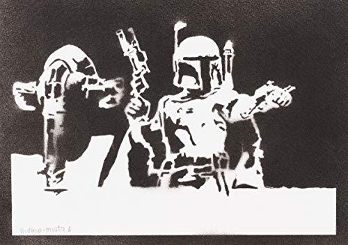 Jango Fett Helm Kostüm - Boba Fett Slave I STAR WARS Poster Plakat Handmade Graffiti Street Art - Artwork
