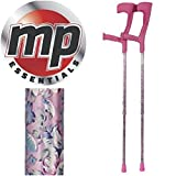 MP Essentials Compact Funky Pattern Forearm Medical Stabilising Crutches - Pair (Pink) by MP Essentials