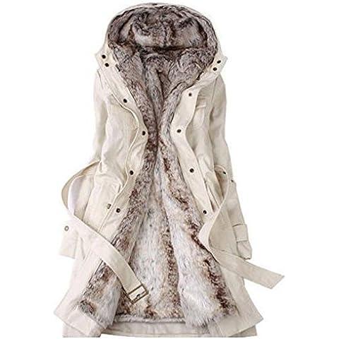 SODIAL (R)caliente mujeres espesan la capa caliente del invierno Abrigo con capucha anorak Chaqueta Larga abrigo Beige -