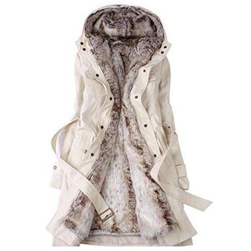 SODIAL (R) Frauen Dicker Warmer Wintermantel Kapuze Parka Mantel Lange Jacke Outwear - Beige - Groesse M