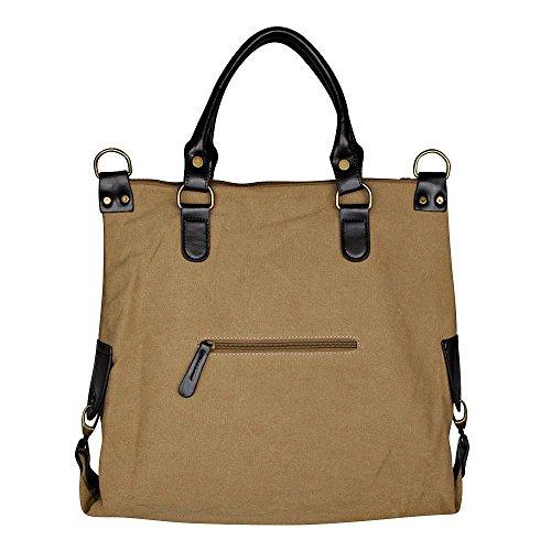 Smartland Damentasche, 5931, XXL Handtasche Star Jeans Beuteltasche Strass Applikation Canvas Antik-Look Damen Schulter Tasche mit Sternen Sand/Schwarz 45x40x16 cm