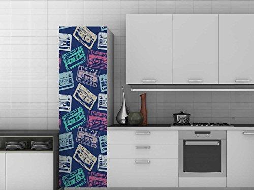 Oedim Vinilo para Frigorífico Patron de Cassette de Colores 200 x 70 cm | Adhesivo Resistente y de Fácil Aplicación | Pegatina Adhesiva Decorativa de Diseño Elegante