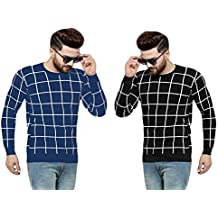 SCATCHITE Men's Cotton Printed Full Sleeve Pack of 2 T-Shirts Blue