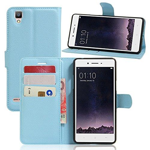 Tasche für OPPO F1 (5 zoll) / OPPO A35 Hülle, Ycloud PU Ledertasche Flip Cover Wallet Case Handyhülle mit Stand Function Credit Card Slots Bookstyle Purse Design blau