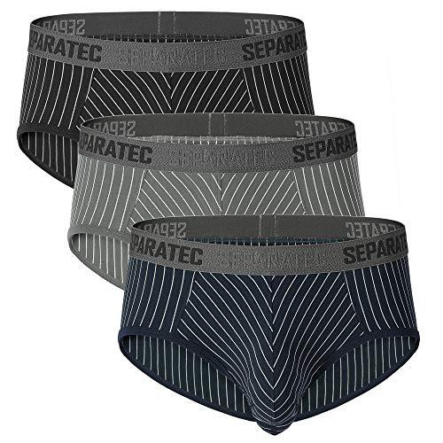 Separatec Herren Slips Hüft-Slips mit Eingriff Separate Beutel atmungsaktive Unterhose für Männer, 3er Pack (XL, Slips: Mehrfarbig)