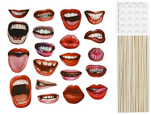 (Requisiten für Fotostand, lustige sexy Lippen, Mund, Zubehör, DIY, Set für Party, Hochzeit, Weihnachten, Geburtstag, Treffen, Halloween, Abschluss, Feste, 20 Stück)