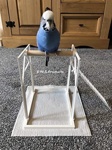 Bird Perch Percha de Pájaro para el Suelo periquitos, cacatúas, Loros, etc. Pájaro Playground Atrapa Las Gotas (Incluye Accesorio para Escalera)