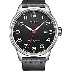 BUREI Unisex Luminous Quartz Watch with Date Analogue Black Big Face Arabic Numerals and Soft Genuine Leather Band