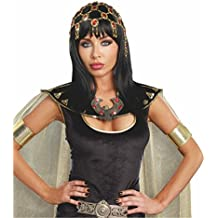 Carnaval Bollywood redecilla Cleopatra rojo dorado cabello joyas joyería de fantasía