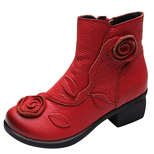 Schwarze Ärmellose Shell (MYMYG Frauen ethnischen Stil Stiefel handgenäht Blumen Schuhe Leder Retro Stiefel Klassische Freizeitschuhe Kurzschaft Wildleder Stiefel Casual Ankle Boot Winterschuhe)